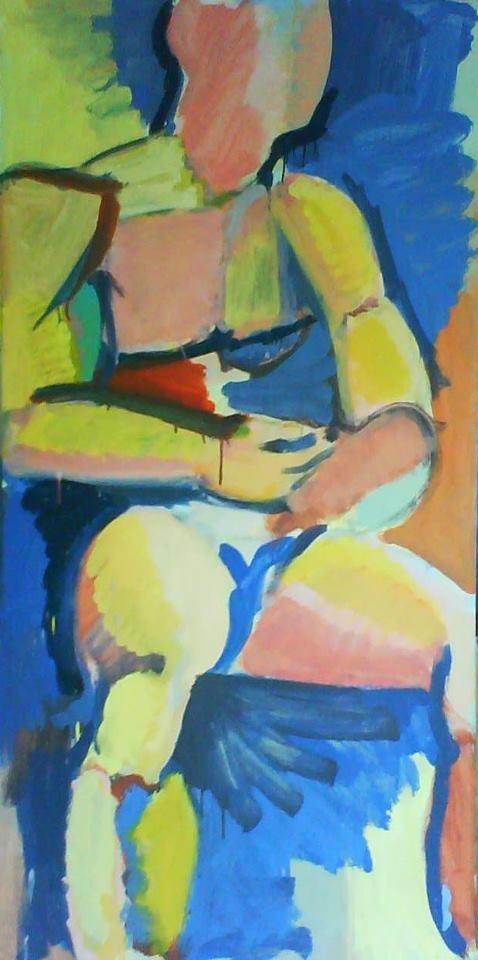 Ricardo Aldama. Figura Sentada. 2013, óleo sobre táblex