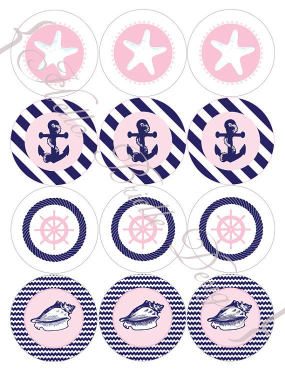 Classy Nautical Party Printable Cupcake Toppers in by HelloBrielle, $5.00