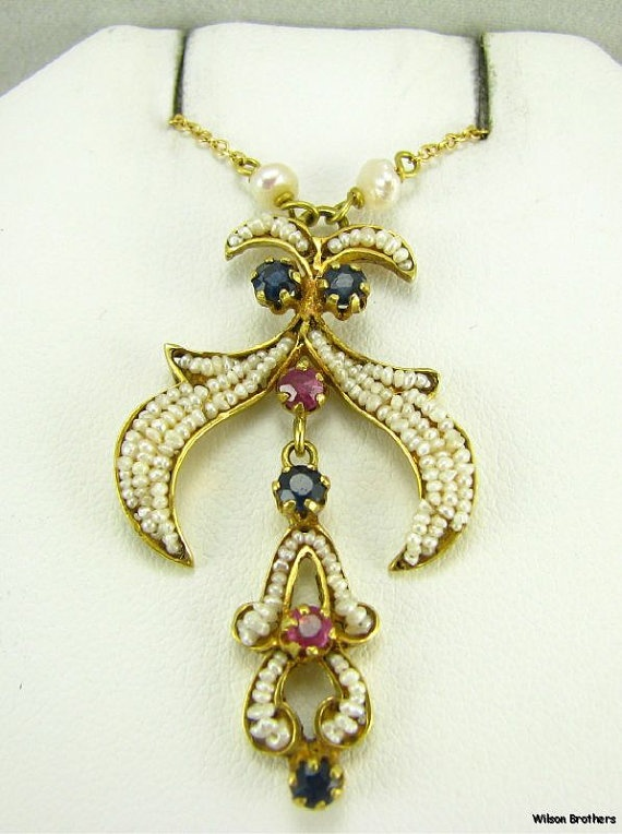18k Gold Pearl, Sapphire & Ruby Lavalier Necklace