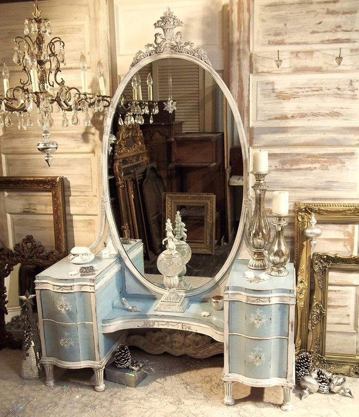 Two color, painted/distressed vanity in old white and light blue...Painted Restoration FB