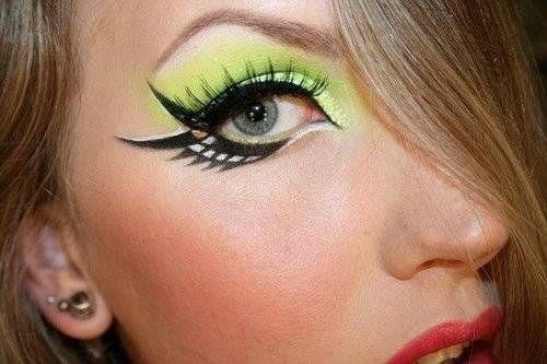 neon eye makeup designs | WOW! Neon, Black & White Eye makeup