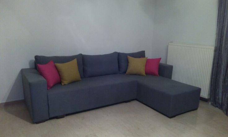 Grey chip and chic corner sofa with bed!