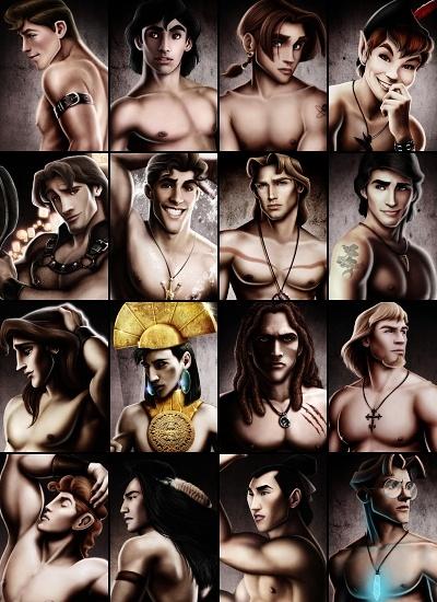 Princes: Top left to bottom right: Prince Phillip (Sleeping Beauty), Aladdin, Jim Hawkins (Treasure planet), Peter Pan, Flynn Rider (Tangled), Naveen (Princess and the frog), John Smith (Pocahontas), Eric (The little mermaid), Adam (Beauty and the Beast), Kuzco (emperor new groove), Tarzan, Pheobus (Hunchback of Notre Dame), Hercules, Kocoum (Pocahontas), Chan (Mulan), Milo (Atlantis)