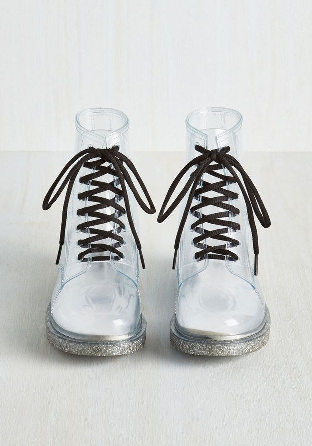 These clear boots with glittery bottoms. | 25 Pairs Of Rain Boots That Are Actually Cute
