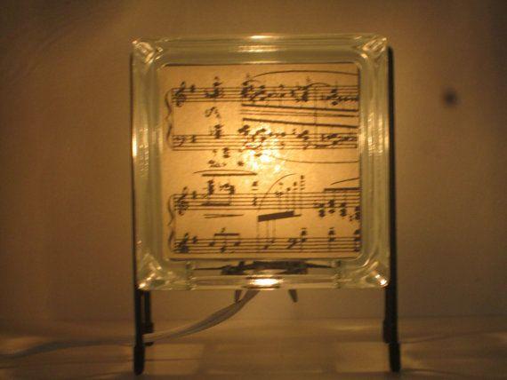 Glass Block Music lamp upcycled handmade lamp glass block night light FREE SHIPPING conductor piano teacher  musician gift dorm room lamp