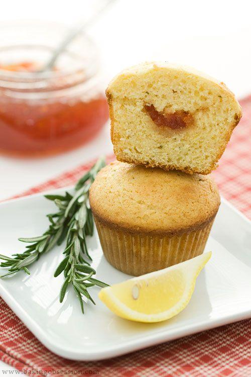 Ricotta Lemon Rosemary Cupcakes with Tomato Jam Filling