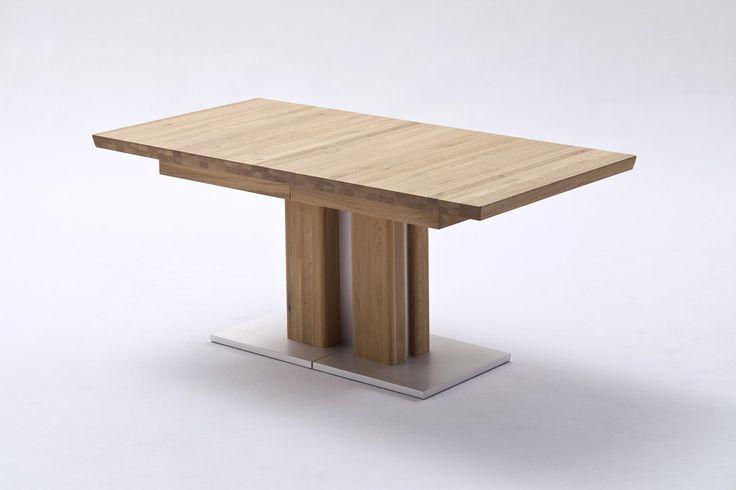 BARI Esstisch Ausziehbarer Säulentisch 160 (310) x90 mit 3 externe Einlagen Eiche matt lackiert
