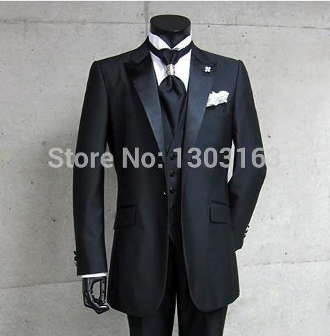 echte foto een knop zwart bruidegom smokings piek satijn revers beste man stalknecht mannen bruiloft past bruidegom jacket+pants+tie+vest in van harte welkom om:aliexpress winkel geen. 1 trouwjurk beperktwinkel geen. 1303163We zijn in de fabriek verkoper  van Suits op AliExpress.com | Alibaba Groep