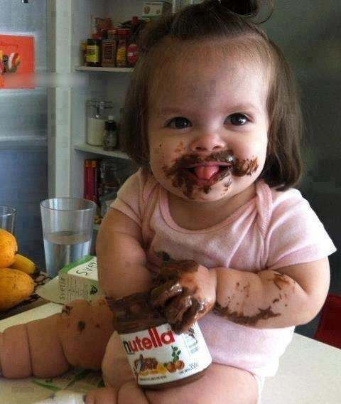 I normally eat Nutella out the jar with a spoon. But don't think I'll worry next time and just copy her! AMM