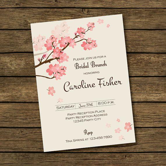 Invitación para despedida de soltera con flores rosa y detalles café - Tarjeta de invitación imprimible con flores
