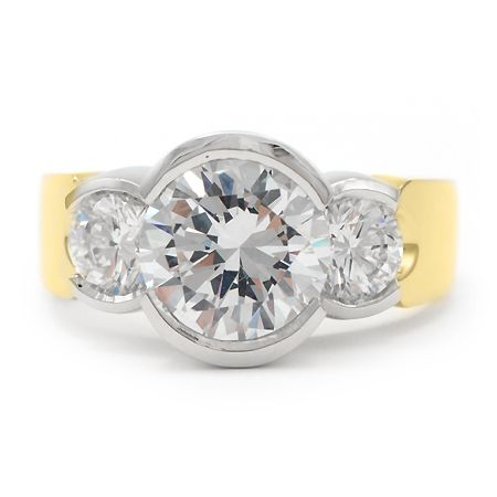 Ladies Platinum And 18k Yellow Gold 3 Stone Ring Set In A