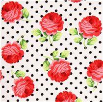 Tela blanca de Michael Miller con rosas y lunares negros