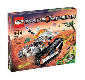 LEGO Mars Mission MT-61 Crystal Reaper by LEGO. $193.88. Contains 600 pieces. The mining specialists can transform their vehicle by detaching a separate spaceship to work in tandem with the rover. Two-in-one building allows for hours of creative crystal mining adventures. The Crystal Reaper has twin spinning harvester blades, rotating treads, and a detachable spaceship, rover unit and research lab. Includes three astronaut minifigures, one glow-in-the-dark alien minifigure ...