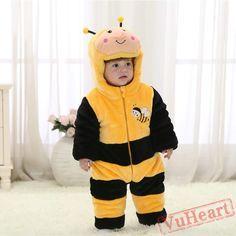 Yellow Bee Kigurumi Onesies Pajamas Costumes Winter Pajamas for Baby