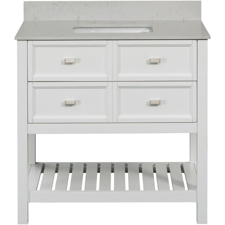 SCOTT LIVING Canterbury White 36-in Undermount Single Sink Poplar Bathroom Vanity with Engineered Stone Top