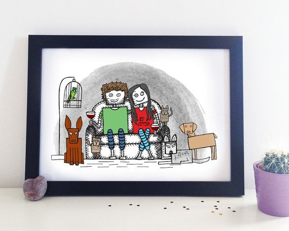 Custom Couple Portrait, Gift For Couples, Anniversary Gift, Personalised Art, Engagement Present, Couple Robot, Robot Love, Geek Couple,