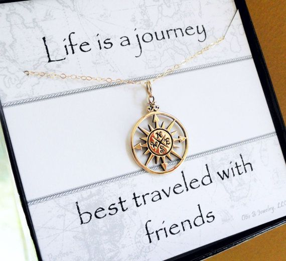 Gold Comapss necklace, Compass rose charm necklace, Friendship neckalce, best friend gift, Message card with necklace, Bridesmaid gifts on Etsy, $38.00