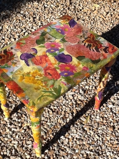 Garage sale bench with floral napkins decoupaged on ...