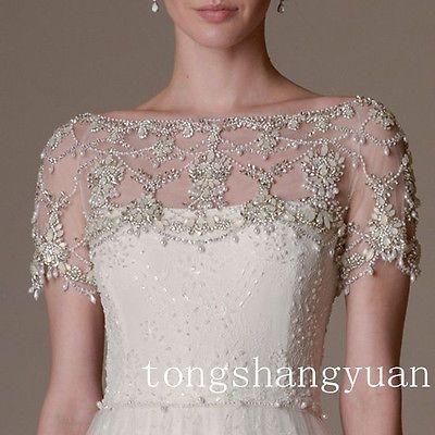 Luxury Wedding Jackets Rhinestones Crystal Shiny Beading Bridal Bolero Wrap Cape