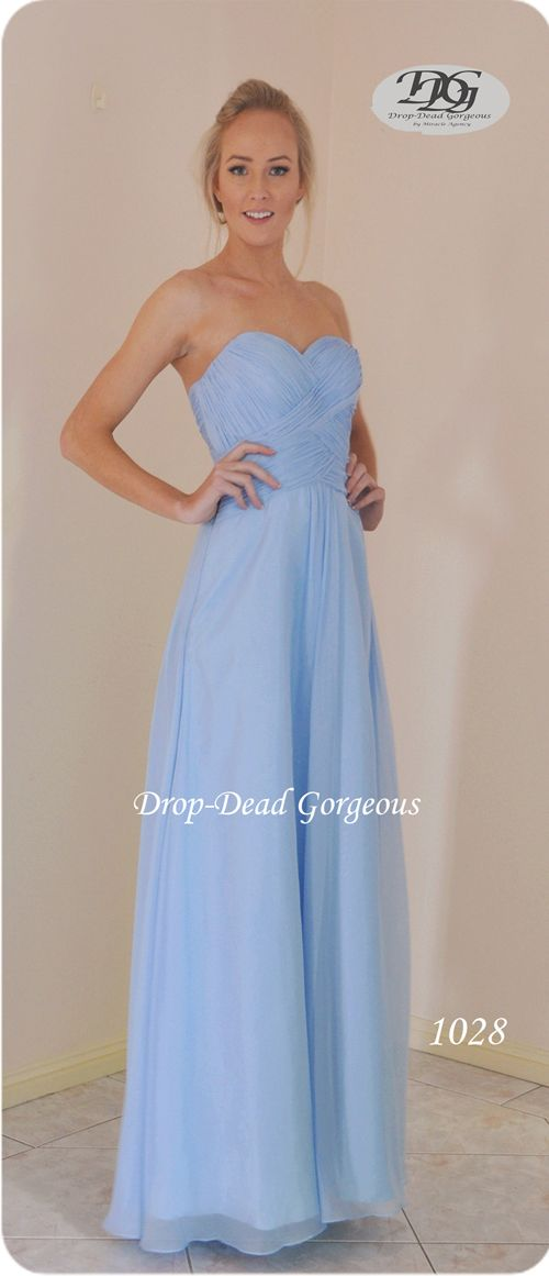 Timeless Bridesmaids Dress:  Silky chiffon gown with great details bust. #DDGMA #DropDeadGorgeous #MiracleAgency #Schoolformal #Maids  www.miracleagency.net