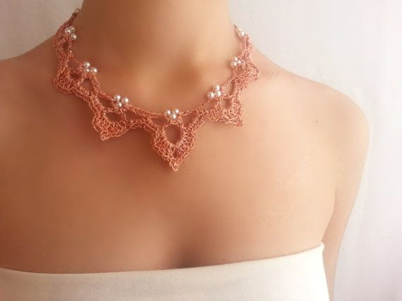 Coral necklace Unusual jewelry Coral salmon choker by DIDIcrochet