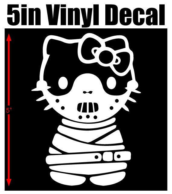Hello kitty hannibal lecter 5 vinyl window decal available in white red