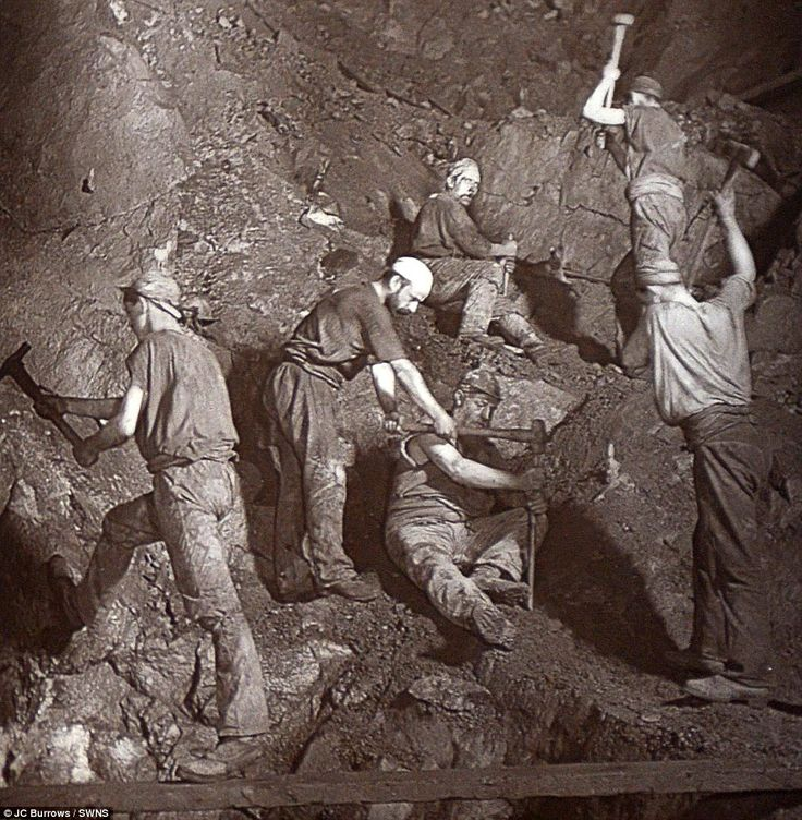 Hard at it: In this frame the miners can be seen boring into the rock. The tin and copper from Cornish mines sold for millions across the na...
