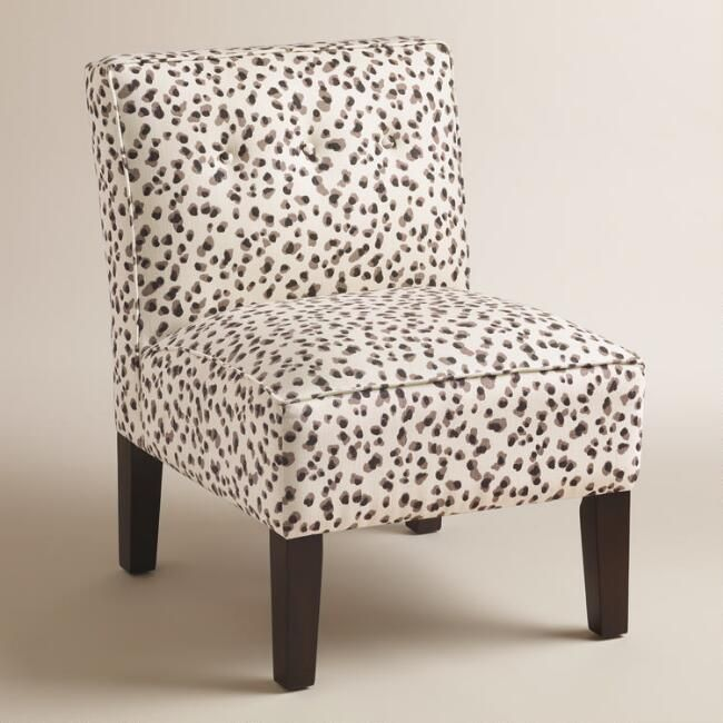 Gray Print Randen Upholstered Chair with Wood Legs - v1  500