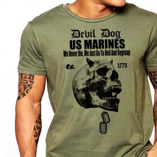 USMC T-Shirt US Marines Devil Dog We Dont Die Semper Fi Men Cotton Tee