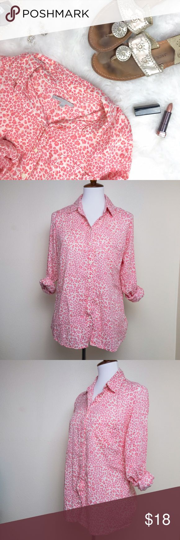 """GAP • Pink and White Cheetah Print Blouse This semi-sheer, ultra-soft blouse is perfect for aaanything! I love it layered under a chambray shirt or over a black pencil skirt. Approximate measurements laying flat: pit to pit 18.5"""", waist 17.5"""", shoulder to hem 25"""". No major flaws; some minor fading and piling near the underarm. NOT outlet; this is from the retail store! GAP Tops Button Down Shirts"""