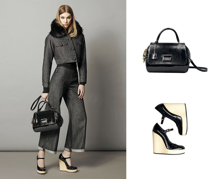 #HOGAN 1970s timeless style with Mary Jane wedges and black patent Shoulder bag.