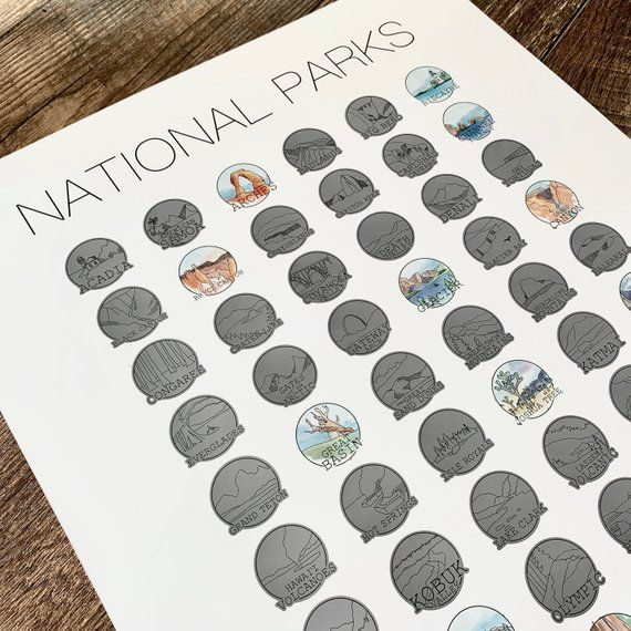 National Parks Poster Scratch Off Print – Bucketlist – United States National Parks – Scratch Stamps – Wedding Gift- Dorm Room- Halloween