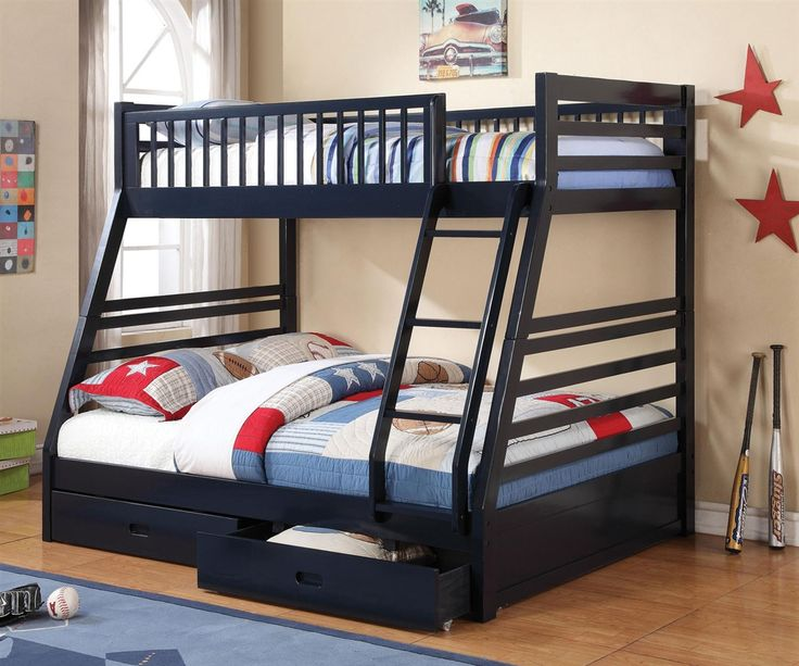 bedroom furniture bunk beds. coaster furniture navy blue twin full bunk bed 460181 kids bedroom beds