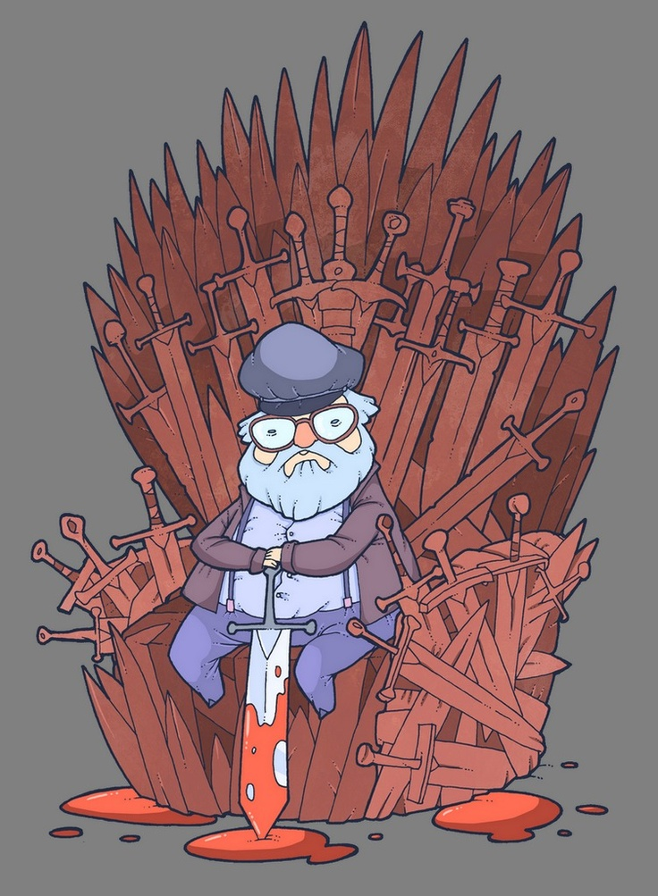 George R.R. Martin sitting on the Iron Throne... Repinning for adorableness