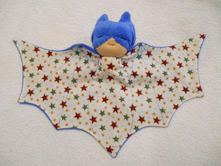 Doudou chauve souris, super héros, bat doudou bleu : Jeux, jouets par petites-chiffonneries