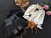Nouveau 2016 Automne hiver enfant vêtements filles buste jupe mince de laine plissée jupe noir/gris 4T ~ 12 en bas âge filles vêtements(China (Mainland))