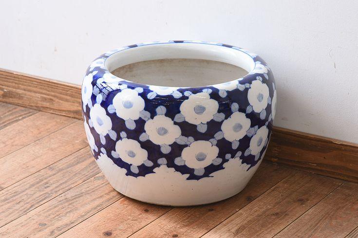 和製アンティーク レトロな花柄の瀬戸火鉢