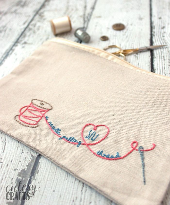 Embroidered Sewing Pouch With Free Pattern Embroidery Patterns