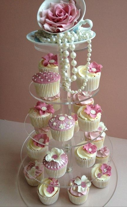 Ladies Tea Party Centrepiece -  Vanilla and lemon cupcakes on a cupcake stand topped with a sugar rose in a china teacup, &  dangling pearls / PrettyPetal on Cakes Decor