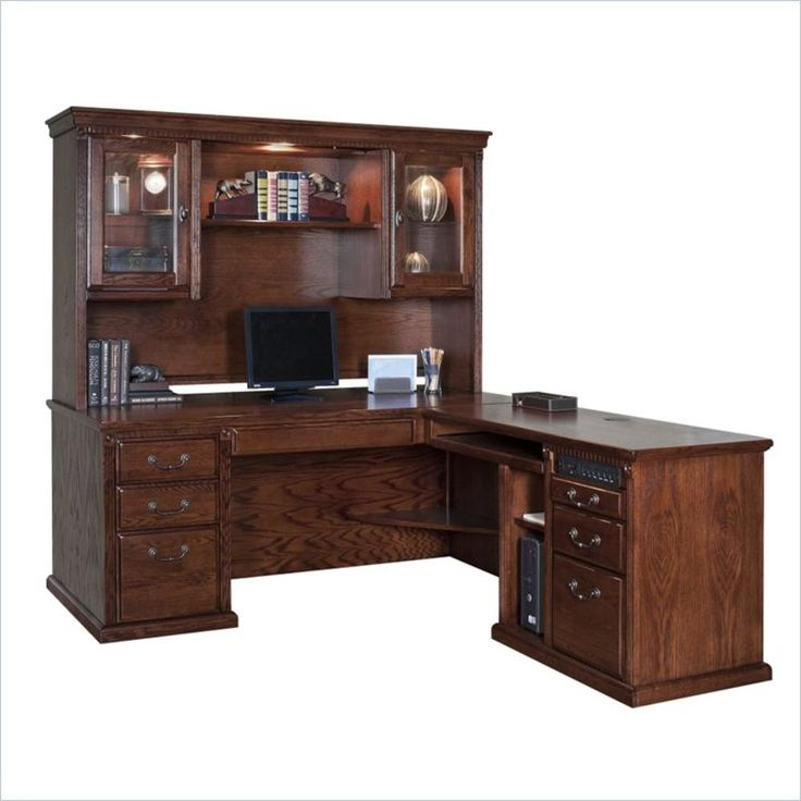 Martin Furniture Kathy Ireland Home by Martin Huntington Oxford L-Shape RHF Executive Desk with Hutch in Burnish - Home - Furniture - Home Office Furniture - Desks & Hutches
