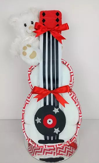 Nappy Cakes by Emma, Rockabilly Nappy Cake, Guitar, Music, Elvis, Nappy Cake, Diaper Cake