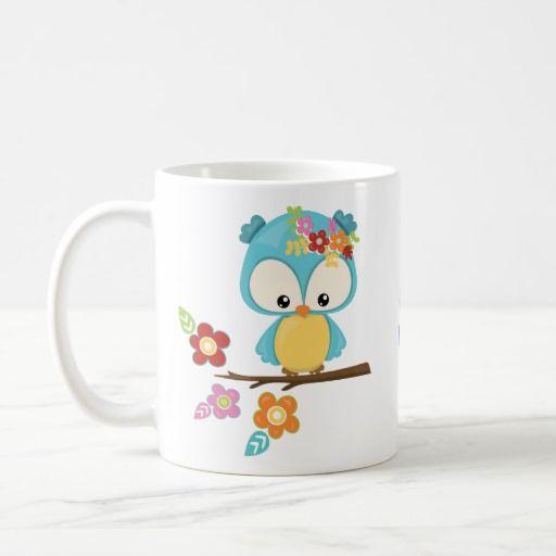 Búho lindo en la rama con monograma taza de café