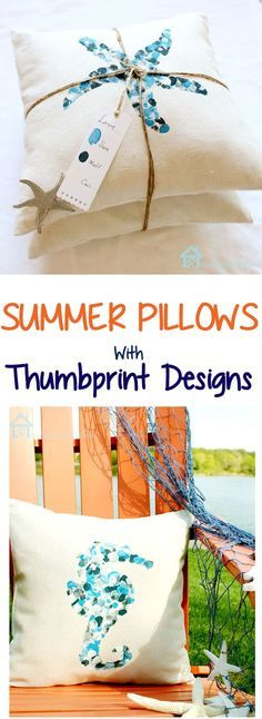 Summer Pillows with Thumbprint Designs - Great gift idea