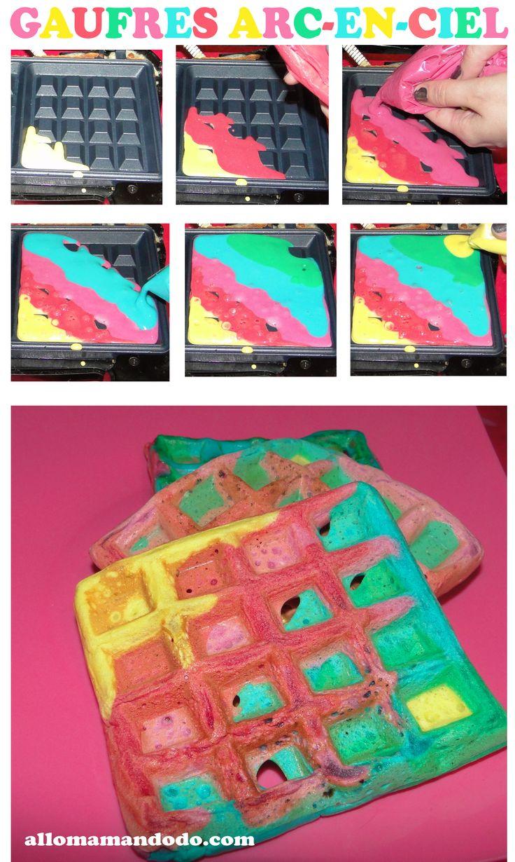 diy gaufres arc-en-ciel tuto démo rainbow waffle