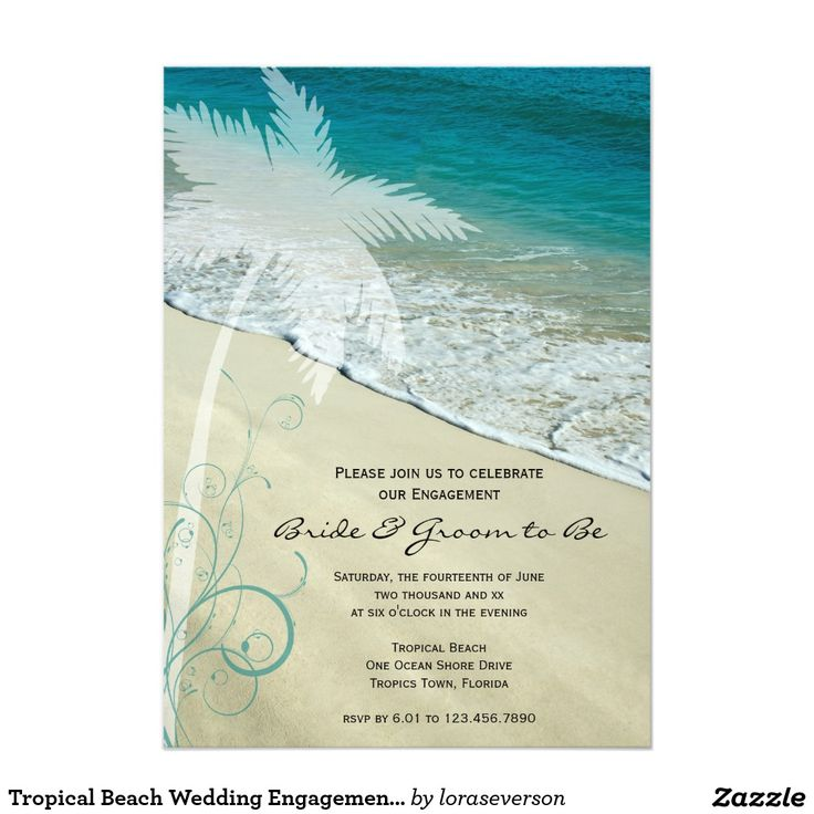 Tropical Beach Wedding Engagement Party Invitation