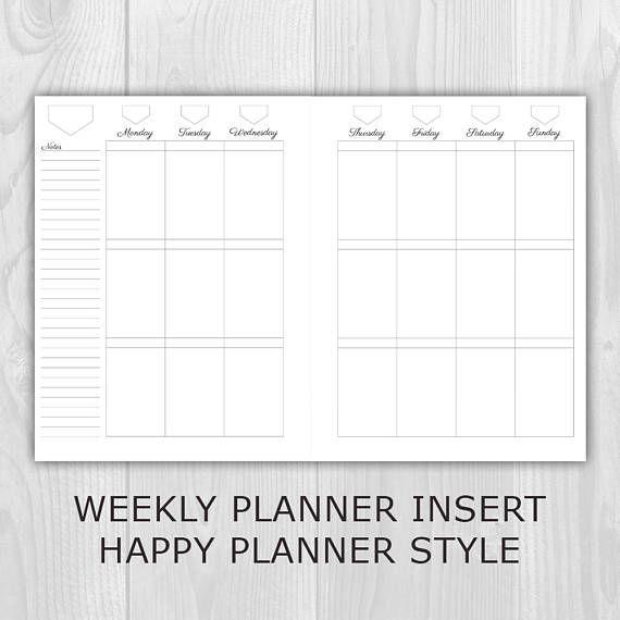 Weekly Planner Printable Happy Planner Classic Style Undated Etsy Happy Planner Printables Printable Planner Happy Planner