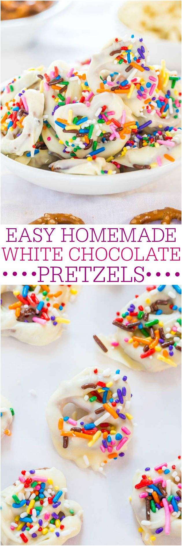 Easy Homemade White Chocolate Pretzels - Crunchy, salty-and-sweet, and so easy! The perfect snack and way better than storebought!