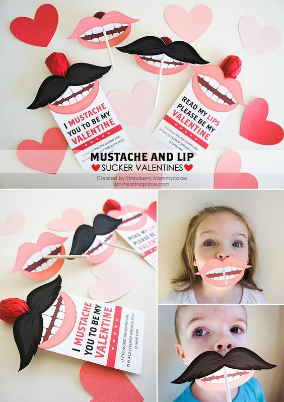 Free printable Valentines ... mustache and lip suckers!