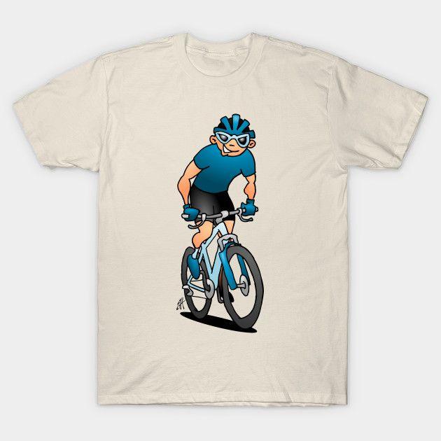 MTB - Mountain biker on his mountainbike T-shirt.    #MTB #Tshirt #Teepublic #Cardvibes #Tekenaartje #NEW