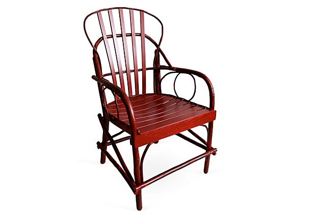Rustic Armchair, Red, made by Amish of hickory and oak from Genesee River Trading Co.